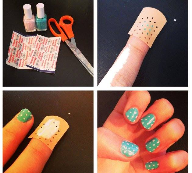 diy-easiest-polka-dot-nail-art-use-a-band-aid